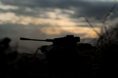 German tank silhouette at sunset Stock Photo