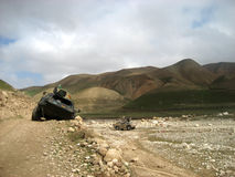 German tank stuck on a dirt road. During a peace keeping mission in Afghanistan royalty free stock image