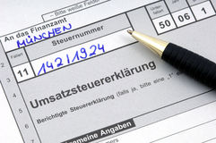 German tax. Form waiting to be completed Royalty Free Stock Photo