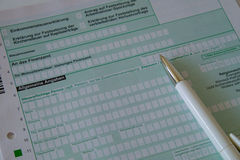 A German tax declaration. A German blank form for the tax and with a pen Royalty Free Stock Photography