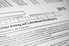 German tax form. Royalty Free Stock Images