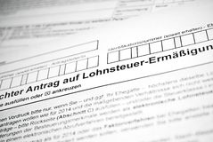 German tax form. Royalty Free Stock Photo