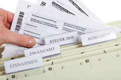 German Taxform. In a file folder on a white background Stock Photography