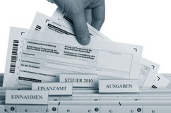 German Taxform. In a file folder on a white backgorund with a blue tint Stock Image
