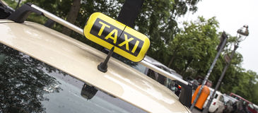 German taxi cab. A plain german taxi cab sign Stock Photos