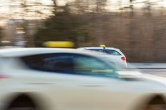 German taxi cab speeding. A german taxi cab speeding Stock Image