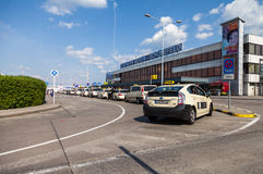 German taxi cars stands on airport. BERLIN / GERMANY - JUNE 4, 2016: german taxi cars stands on airport schoenefeld, berlin / germany at june 4, 2016 Stock Photo