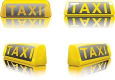 German Taxi Sign. Vector illustration of german taxi signs in different angles Stock Illustration
