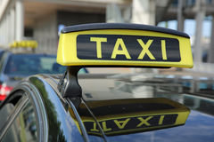German Taxi. Sign of a german Taxi in a Row Stock Image