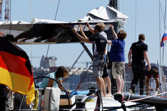 German team prepare the yacht to Nord Stream Race 2016 Royalty Free Stock Photography