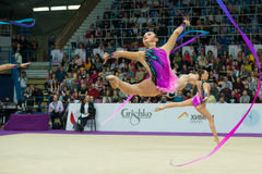 German team on Rhythmic gymnastics Royalty Free Stock Images