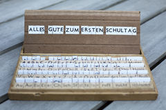 German text: Alles Gute zum ersten Schultag Stock Image