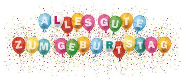 Alles Gute Geburtstag Banner Colored Balloons Confetti Explosion Royalty Free Stock Photo