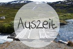 Bridge In Norway Mountains, Auszeit Means Downtime Stock Images