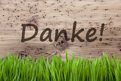 Bright Wooden Background, Gras, Danke Means Thank You Stock Images
