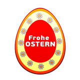 Frohe Ostern over 3d easter egg with flowers Stock Photo
