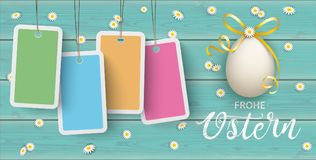 Ostern Easter Eggs Daisy Wooden Price Stickers Turquoise Header. German text Frohe Ostern, translate Happy Easter Stock Photos