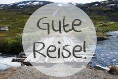 Bridge In Norway Mountains, Gute Reise Means Good Trip Stock Photos