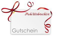 Gutschein Card Red Ribbon Frohe Weihnachten Coupon. German text Gutschein Frohe Weihnachten, translate Coupon Frohe Weihnachten Stock Photo