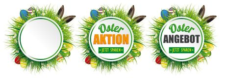 Easter Eggs Hare Ears Circles Osterangebot Header. German text Osterangebot, Osteraktio, Jetzt Sparen, translate Easter Offer, Easter Sale,  Save Now Stock Photo
