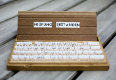 German text: Pruefung Bestanden Royalty Free Stock Images