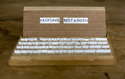 German text: Pruefung Bestanden Stock Photos