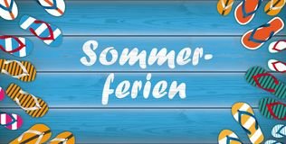 Sommerferien Flip-Flops Wooden Background Centre Header vector illustration