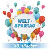 Blue Piggy Bank Weltspartag 30 Oktober Balloons Banner. German text Weltspartag, translate World Savings Day Stock Photo
