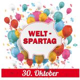 Blue Pink Paper Circles Balloons Percents Banner Weltspartag 30. German text Weltspartag, translate World Savings Day Royalty Free Stock Photo
