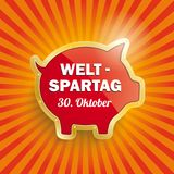 Golden Piggy Bank Retro Sun Weltspartag 30 Oktober. German text Weltspartag, translate World Savings Day Stock Photography