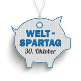 Price Sticker Blue Piggy Bank Weltspartag 30 Oktober. German text Weltspartag translate World Savings Day Stock Image