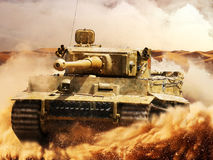 German Tiger moves in the desert Royalty Free Stock Photography