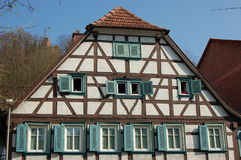 German Timber house. A view of an old German timber house in Landstuhl, Germany. This type of construction was common in its time era.  The historic Nanstein Stock Image