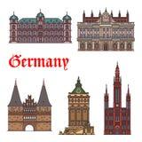 German tourist sight and travel landmark icon set Stock Images