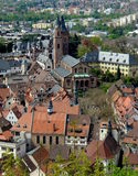 German Town. Church, market square and downtown area of the German town of Weinheim Stock Photo