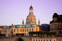 German Town Dresden with church Frauenkirche stock photos