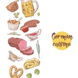 German Traditional Food Hand Drawn Background. Germany Cuisine Menu Template. Food and Drink Royalty Free Stock Photos