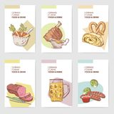 German Traditional Food Hand Drawn Brochure Templates. Germany Cuisine Menu Cards. Food and Drink Royalty Free Stock Photography