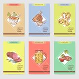 German Traditional Food Hand Drawn Brochure Templates. Germany Cuisine Menu Cards. Food and Drink Royalty Free Stock Photo