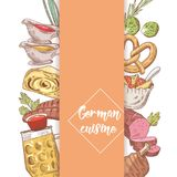 German Traditional Food Hand Drawn Doodle. Germany Cuisine Menu Template. Food and Drink Stock Photos