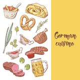 German Traditional Food Hand Drawn Doodle. Germany Cuisine Menu Template. Food and Drink Stock Photography