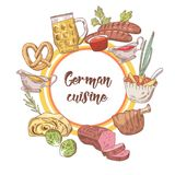 German Traditional Food Hand Drawn Doodle. Germany Cuisine Menu Template. Food and Drink Royalty Free Stock Photo