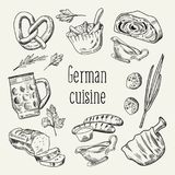 German Traditional Food Hand Drawn Outline Doodle. Germany Cuisine Menu Template. Food and Drink Royalty Free Stock Photos
