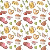 German Traditional Food Hand Drawn Seamless Pattern. Germany Cuisine Background. Food and Drink Stock Photography