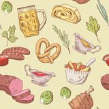 German Traditional Food Hand Drawn Seamless Pattern. Germany Cuisine Background. Food and Drink Royalty Free Stock Image