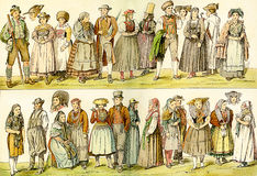 German traditional wear in XVIII century Stock Photos