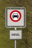 Diesel driving prohibited. German traffic sign  for diesel driving prohibited Royalty Free Stock Image