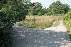 Riding forbidden. German traffic sign riding forbidden Royalty Free Stock Images
