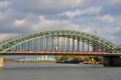 Train on bridge at Rhine River Cologne Germany Stock Photography