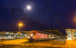 German train departing from Offenburg station Royalty Free Stock Photos